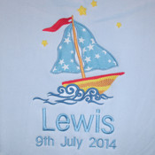 Ships Ahoy Personalised Cot Blanket with Blue Satin Trim