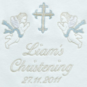 Christening Personalised Blanket...Cherubs Blue