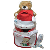 Baby's Christmas Nappy Cake - Teddy Bear