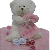 Personalised Knitted Blanket and Pebbles Teddy + Bonus Gift
