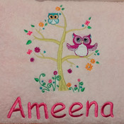 Owl Personalised Bath Towel