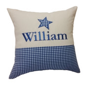Personalised Star gingham cushion