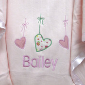 Personalised Hanging Hearts Cot Blanket