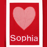 Red Gingham Heart Personalised Blanket inc Bonus Soft Toy
