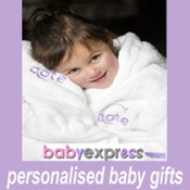 Baby's Personalised Dressing Gown,Hand Towel,Washer & Bodysuit Gift Box