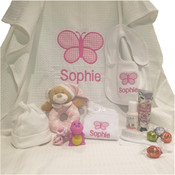 Waffle Weave Blanket with Personalised Butterflies & Name