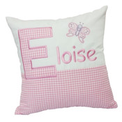 Personalised butterfly gingham cushion