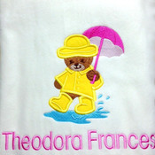 My Teddy in a Raincoat  Personalised Blanket