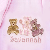 Satin Teddies Personalised Baby Blanket