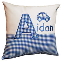 Personalised little car gingham cushion Thumbnail