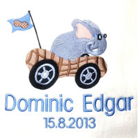 My Elephant in a Racer Personalised Blanket Thumbnail