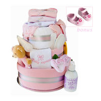 Delux Beautifully for Baby Nappy Cake...pink Thumbnail