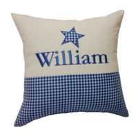 Personalised Star gingham cushion Thumbnail