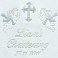 Christening Personalised Blanket...Cherubs Blue Thumbnail